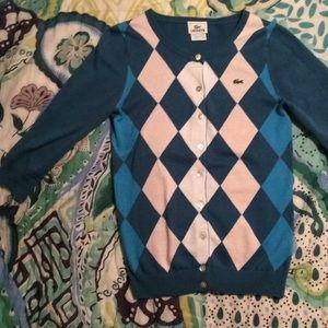 Lacoste Argyle 3/4 length sleeve cardigan sweater